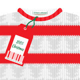 Christmas card with a knitted sweater and price tag Stock Photos