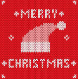 Christmas Card with knitted texture. Vector Stock Photography