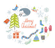 Christmas card with knitted things, cat, snow, tree Royalty Free Stock Photos