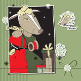 Christmas card with the lamb. Christmas card with sheep on striped background Stock Image