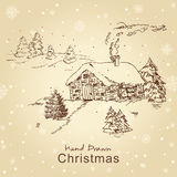 Christmas card with landscape. Christmas hand drawn christmas card with landscape, for xmas design. All elements are in separate layers and grouped, easy to edit stock illustration