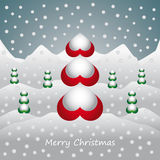 Christmas card with landscape trees and snow Royalty Free Stock Image