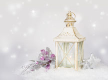 Christmas card with lantern, decorations and snow Stock Photography