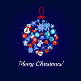 Christmas card with a large ball toy. On a blue background stock illustration
