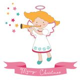 Christmas card with little angel Royalty Free Stock Images