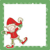 Christmas card with little elf Santa helper Stock Photo
