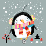 Christmas card with a little penguin Royalty Free Stock Images