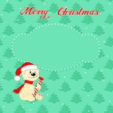 Christmas card with little  polar bear Stock Images