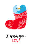 Christmas card with love pinguines. Christmas vector card with love pinguines, Xmas cartoon funny stocking Stock Photography