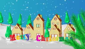 Christmas card. Low polygonal model of houses. The village is in a snow-covered forest. Good New Year spirit Royalty Free Stock Image