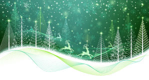 Christmas card with magic reindeer Royalty Free Stock Image