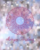 Christmas card with mandala. Festive christmas card with hand drawn decorated mandala, snowflakes and calligraphy text Merry Christmas on the colorful background Stock Photos