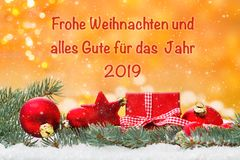 Christmas card, Merry Christmas and all good for 2019 stock photos