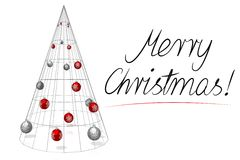 Christmas card - Merry Christmas. 3D modern, geometrical Christmas tree with baubles on white background, `Merry Christmas!` wishes Royalty Free Stock Photography