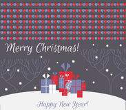Christmas card. Merry Christmas! Happy New Year!. Many gifts on snow in the woods Royalty Free Stock Images