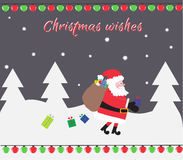 Christmas card.  Merry Christmas! Happy New Year. Santa loses gifts from bag Royalty Free Stock Image