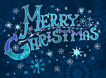 Christmas Card, Merry Christmas lettering Stock Photo