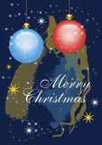Christmas card with Merry Christmas text. Dark blue christmas card with Merry Christmas text, blue and red glass balls and stars Royalty Free Stock Photography