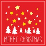 Christmas vector card with Merry Christmas wishes. Christmas vector card or invitation for party with Merry Christmas wishes. Classic illustration with dark blue Stock Image