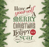 Christmas card. Merry Christmas & Happy New Year 2016 Stock Images