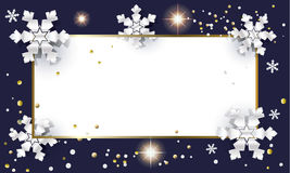 Christmas card. Christmas. Merry Christmas and Happy New Year greeting card frame with silver snowflakes and glitter, confetti. Christmas Frame Vector Stock Photo