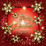 Christmas card. Christmas. Merry Christmas and Happy New Year greeting card with gold snowflakes and glitter, confetti. Christmas Frame Vector illustration Stock Photo