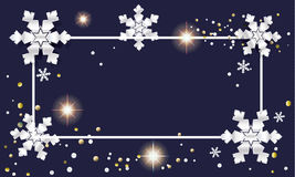 Christmas card. Christmas. Merry Christmas and Happy New Year greeting card with gold snowflakes and glitter, confetti. Christmas Frame Vector illustration Royalty Free Stock Image