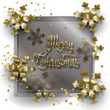 Christmas card. Christmas. Merry Christmas and Happy New Year greeting card with gold snowflakes and glitter, confetti. Luxury design. Vector illustration Stock Photos