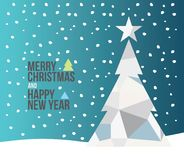 Christmas card. Merry christmas and happy new year holiday pine tree with star, abstract triangle style Royalty Free Stock Photos