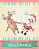 Christmas card with merry Santa Claus and reindeer Stock Images