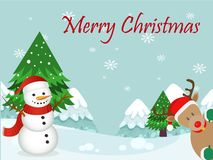 Christmas Card Merry Christmas with snowman royalty free illustration
