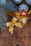 Christmas card mirror disco three balls gold colored bow carnava Royalty Free Stock Photos