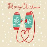 Christmas card with mittens Royalty Free Stock Image