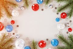 Christmas card mockup with blue and red baubles 3D rendering royalty free illustration