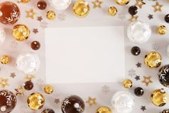 Christmas card mockup with golden baubles 3D rendering vector illustration