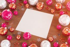 Christmas card mockup with pink baubles 3D rendering royalty free illustration