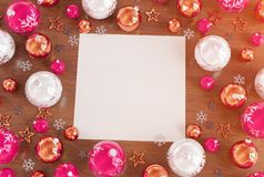 Christmas card mockup with pink baubles 3D rendering stock illustration