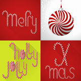 Christmas card in a modern colorful tile design with handmade sweet Lolli font and christmas ball Royalty Free Stock Image