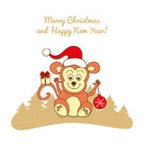 Christmas card with a monkey Royalty Free Stock Photo