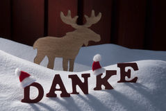 Christmas Card With Moose, Hat And Snow, Danke MeanThank You Stock Image
