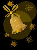 Christmas card motif with gold bell and stars. Abstract Christmas card motif with gold bell and stars Stock Photography