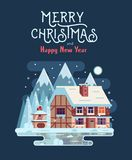 Christmas Card with Mountain Winter House by Night stock illustration