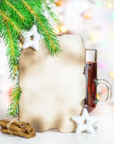 Christmas card with mulled wine Stock Photography