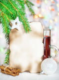 Christmas card with mulled wine Stock Photos