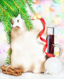 Christmas card with mulled wine, decor and cinnamon Stock Image