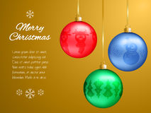 Christmas card with multi-colored pendants in the shape of a ball. Decorated fir-tree, snowflakes, reindeer, snowman. Classic gold Royalty Free Stock Photos