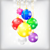 Christmas card with multicolor balls Royalty Free Stock Photography