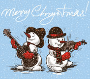 Christmas card with the musicians snowmen Stock Photography