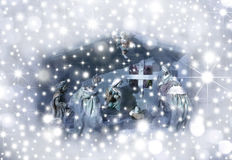 Christmas Card Nativity scene. Surrounded by stars stock photo