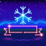 Christmas card with 80s neon snowflake and ribbon Royalty Free Stock Images